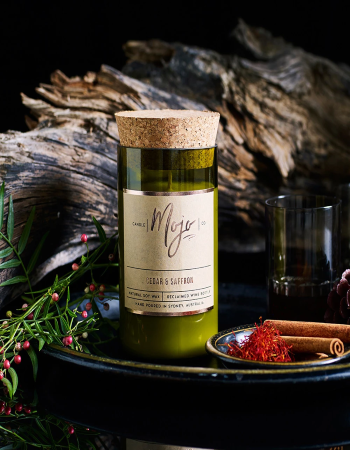 Mojo Wine Bottle Candle - Cedar & Saffron